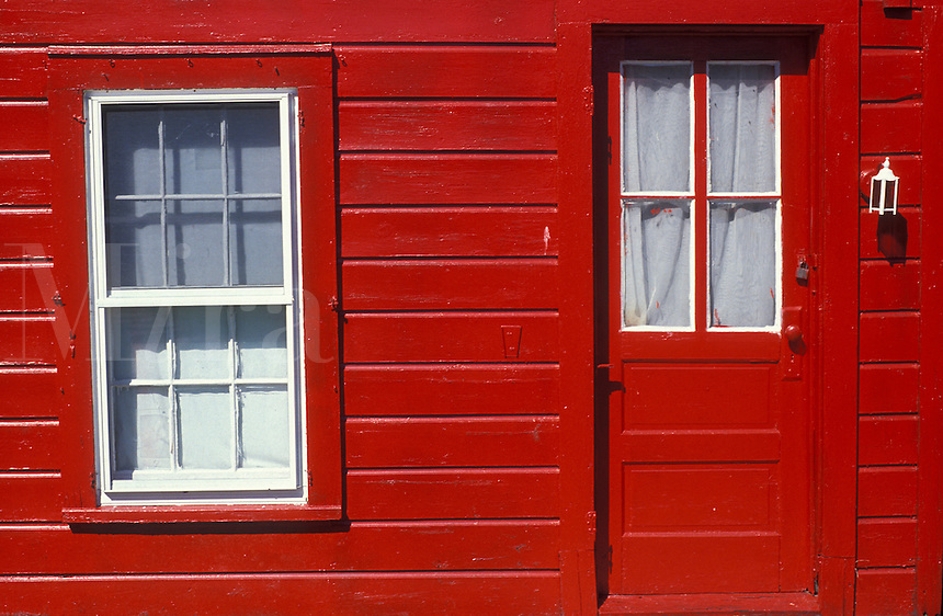 AJ1982, door, window, house, New York, Adirondacks, A close up of a bright red farmhouse shows a door and window in Wells in the adirondack Park inthe state of New York.