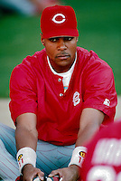 Barry Larkin of the Cincinnati Reds at Dodger Stadium in Los Angeles,California during the 1996 season. (Larry Goren/Four Seam Images)