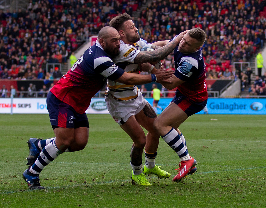 Worcester's Francois Hougaard in action during todays match<br /> <br /> Photographer Bob Bradford/CameraSport<br /> <br /> Gallagher Premiership - Bristol Bears v Worcester Warriors - Saturday 23rd March 2019 - Ashton Gate - Bristol<br /> <br /> World Copyright © 2019 CameraSport. All rights reserved. 43 Linden Ave. Countesthorpe. Leicester. England. LE8 5PG - Tel: +44 (0) 116 277 4147 - admin@camerasport.com - www.camerasport.com