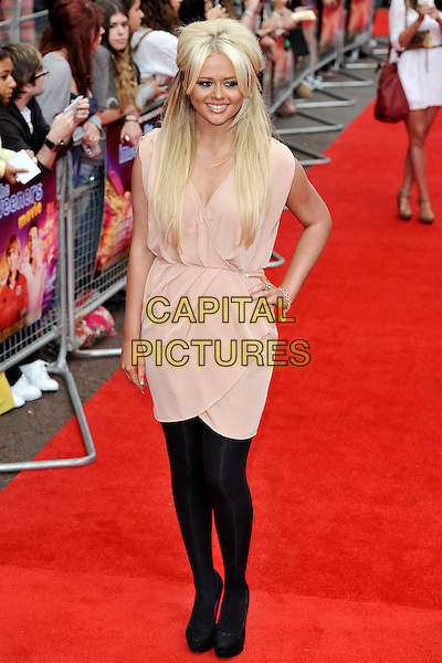 "Emily Atack.""The Inbetweeners Movie"" UK premiere, Vue West End cinema, Leicester Square, London, England..August 16th, 2011.full length black tights beige nude dress hand on hip wrap .CAP/MAR.© Martin Harris/Capital Pictures."