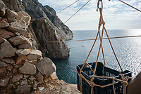 Mount Athos - The Holy Mountain.<br /> Karoulia, meaning the place of pulleys. Because most of the cells are so inaccessible, supplies such as fire wood and food need to be brought over in pulleys. <br /> <br /> Photographer: Rick Findler