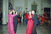 United States President Ronald Reagan and Prime Minister Margaret Thatcher of Great Britain share a dance in the Entrance Hall of the the White House in Washington, D.C. following the dinner in her honor on Wednesday, November 16, 1988.  At right their spouses, first lady Nancy Reagan and Denis Thatcher share a dance as well.  Thatcher died from a stroke at 87 on Monday, April 8, 2013..Credit: Ron Sachs / CNP
