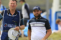 Andy Sullivan (ENG) and Sean Mcdonagh finish on the 18th green during Saturday's Round 3 of the 2018 Dubai Duty Free Irish Open, held at Ballyliffin Golf Club, Ireland. 7th July 2018.<br /> Picture: Eoin Clarke | Golffile<br /> <br /> <br /> All photos usage must carry mandatory copyright credit (&copy; Golffile | Eoin Clarke)
