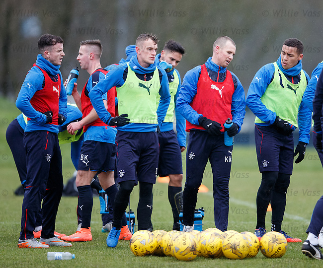 The Rangers squad take a breather after a series of high tempo practice matches