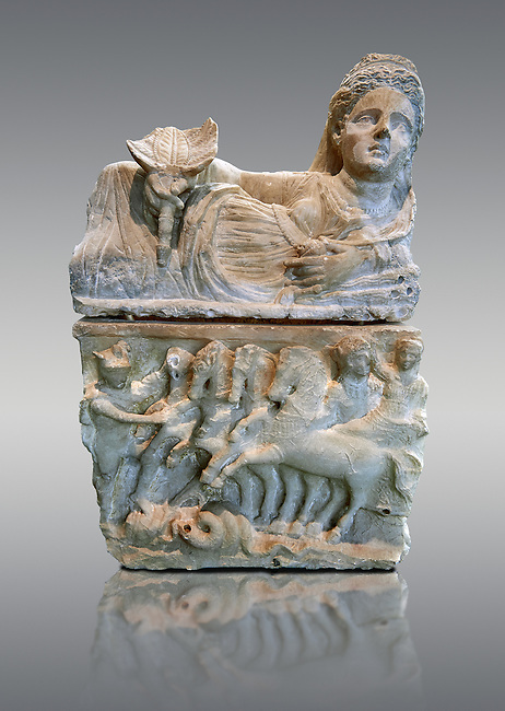150-27 B.C Etruscan Hellenistic style cinerary urn,  National Archaeological Museum Florence, Italy , against grey
