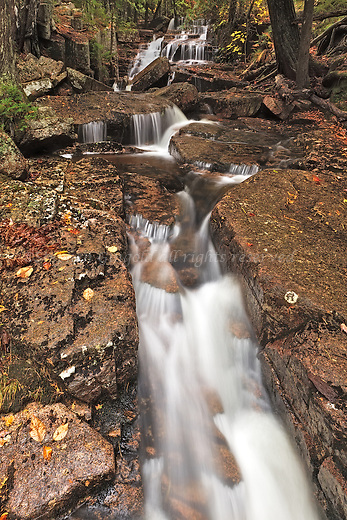 A hidden stream flowing down Cadillac Mountain at Acadia National Park.