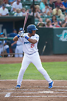 Ogden Raptors third baseman Jefrey Souffront (29) at bat during a Pioneer League game against the Great Falls Voyagers at Lindquist Field on August 23, 2018 in Ogden, Utah. The Ogden Raptors defeated the Great Falls Voyagers by a score of 8-7. (Zachary Lucy/Four Seam Images)