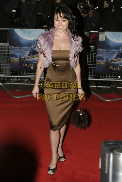 "LISA SCOTT LEE.Premiere of ""Polar Express"", Vue cinema, Leicester Square, London, November 17th 2004..full length lilac purple fluffy fur cape jacket shrug cardigan brown dress.Ref: AH.www.capitalpictures.com.sales@capitalpictures.com.©Capital Pictures."