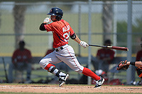 Boston Red Sox Forrestt Allday (35) during a minor league spring training game against the Baltimore Orioles on March 18, 2015 at Buck O'Neil Complex in Sarasota, Florida.  (Mike Janes/Four Seam Images)