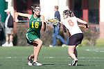 Santa Barbara, CA 02/13/10 - Mary Walsh (Oregon #16) and Alina Daszkowski (Texas #8) in action during the Texas-Oregon game at the 2010 Santa Barbara Shoutout, Texas defeated Oregon 11-9.