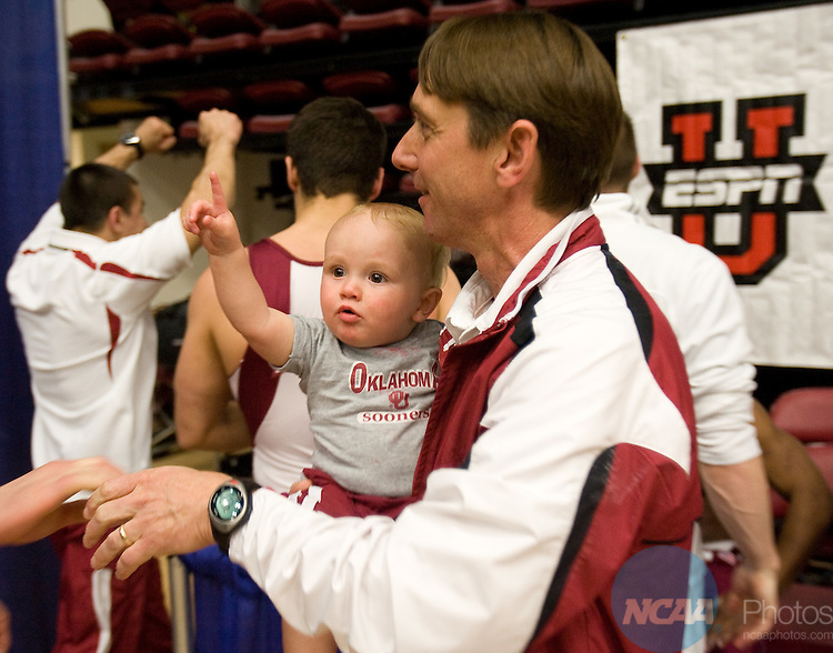 18 APR 2008: Oklahoma's head coach  Mark Williams' son holds up a number one sign after Oklahoma wins the Division I Men's Gymnastics Championship held at Maples Pavilion on the Stanford University Campus in Stanford, Ca. John Todd/NCAA Photos