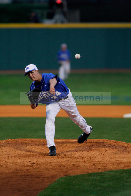 Freshman pitcher Taylor Rogers throws a pitch during the UK men's baseball game against the Florida Gators on Saturday, April 17, 2010 at Cliff Haggin Stadium. The No. 30 Cats lost to the No. 7 Gators, 6-3, claiming the series. Photo by Allie Garza | Staff