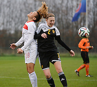 20141126 - TUBIZE , BELGIUM : Belgian Petra Baldewijns (r) and Turkish Gülbin Hiz (left) pictured during the Friendly female soccer match between Women under 19 / 21  teams of  Belgium and Turkey .Wednesday 26th November 2014 . PHOTO DAVID CATRY