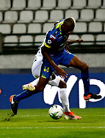 MANIZALES-COLOMBIA, 09-10-2019: Johan Carbonero de Once Caldas y Yhormar Hurtado de Alianza Petrolera disputan el balón, durante partido de la fecha 5 entre Once Caldas y Alianza Petrolera, por la Liga de Aguila II 2019 en el estadio Palogrande en la ciudad de Manizales. / Johan Carbonero of Once Caldas and Yhormar Hurtado of Alianza Petrolera figth for the ball, during a match of the 5th date between Once Caldas and Alianza Petrolera, for the Aguila Leguaje II 2019 at the Palogrande stadium in Manizales city. Photo: VizzorImage  / Santiago Osorio / Cont.