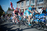 Vincenzo Nibali (ITA/Astana) &amp; Tim Wellens (BEL/Lotto-Soudal) up the infamous Mur de Huy (1300m/9.8%)<br /> <br /> 79th Fl&egrave;che Wallonne 2015