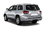 Car pictures of rear three quarter view of a 2018 Toyota sequoia sr 5 Door SUV angular rear