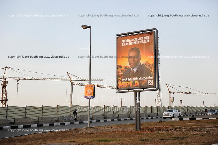 ANGOLA Luanda, election poster of MPLA leader Jose Eduardo dos Santos