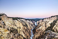 Sunrise at Lower Yellowstone Falls in Yellowstone National Park.