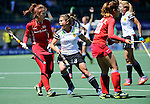 The Hague, Netherlands, June 13: Lisa Altenburg #18 of Germany reacts to a play during the field hockey placement match (Women - Place 7th/8th) between Korea and Germany on June 13, 2014 during the World Cup 2014 at Kyocera Stadium in The Hague, Netherlands. Final score 4-2 (2-0)  (Photo by Dirk Markgraf / www.265-images.com) *** Local caption *** Sunsoon Oh #19 of Korea, Lisa Altenburg #18 of Germany, Kiju Park #20 of Korea