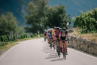 Team BMC (Alessandro De Marchi &amp; Greg Van Avermaet) controlling the peloton's pace up the final climb<br /> <br /> Stage 5: Gstaad &gt; Leukerbad (155km)<br /> 82nd Tour de Suisse 2018 (2.UWT)