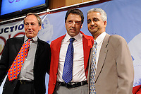 Bob McNabb, Preki Radosavljevic, and US Soccer President Sunil Gulati pose for photos during the induction ceremony for the National Soccer Hall of Fame at the New Meadowlands Stadium in East Rutherford, NJ, on August 10, 2010.