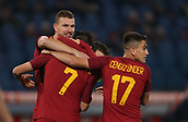 1st December 2017, Stadio Olimpico, Rome, Italy; Serie A football. AS Roma versus Spal;   Goal celebration  from Dzeko Roma