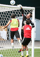 Troy Perkins of DC United tips the ball over the bar at a practice session for DC United and AC Milan at RFK Stadium in Washington DC on may 25 2010.