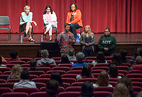 Students, from left, Derek Poetzinger '17, Hannah Teskey '15 and Rebecca Patch '14 talk to parents at the Parent Perspectives panel discussion during Experience Oxy! Admitted Student Day, Thorne Hall, April 18, 2014. (Photo by Marc Campos, Occidental College Photographer)