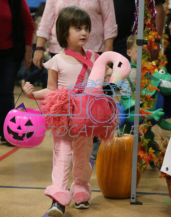 Emma Jo Etchison, 4, trick-or-treats at the Carson City Boo-nanza at the Community Center on Wednesday, Oct. 25, 2017. Co-hosted by Carson City Parks and Recreation, the Carson City Library and the Carson City Aquatics Facility, hundreds of families participate in the event which includes trick-or-treating, a haunted house, games, crafts, a dive-in movie and more.<br /> Photo by Cathleen Allison/Nevada Momentum
