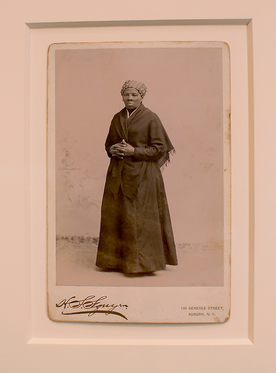 "UNITED STATES - JUNE 17 - An original photograph of Slavery Abolitionist Harriet Tubman, taken by H. Seymour Squyer, and estimated to have been printed in 1885, is displayed on a cabinet card on display from the National Portrait Gallery before a House Administration Committee Hearing on ""The State of the Smithsonian"" in the Longworth House Office Building on Wednesday, June 17, 2015. (Photo By Al Drago/CQ Roll Call)"