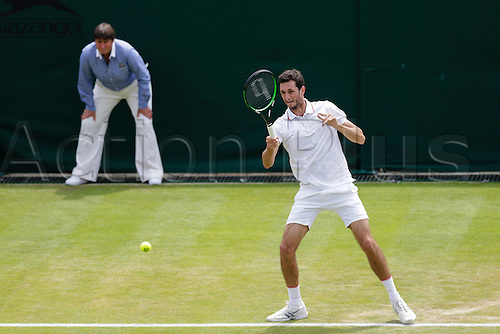 02.07.2015.  Wimbledon, England. The Wimbledon Tennis Championships.  Gentlemen's Singles second round match between James Ward (GBR) and Jiri Vesely (CZE).  James Ward in action