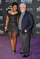 George Lucas &amp; Mellody Hobson at the world premiere for &quot;Black Panther&quot; at the Dolby Theatre, Hollywood, USA 29 Jan. 2018<br /> Picture: Paul Smith/Featureflash/SilverHub 0208 004 5359 sales@silverhubmedia.com