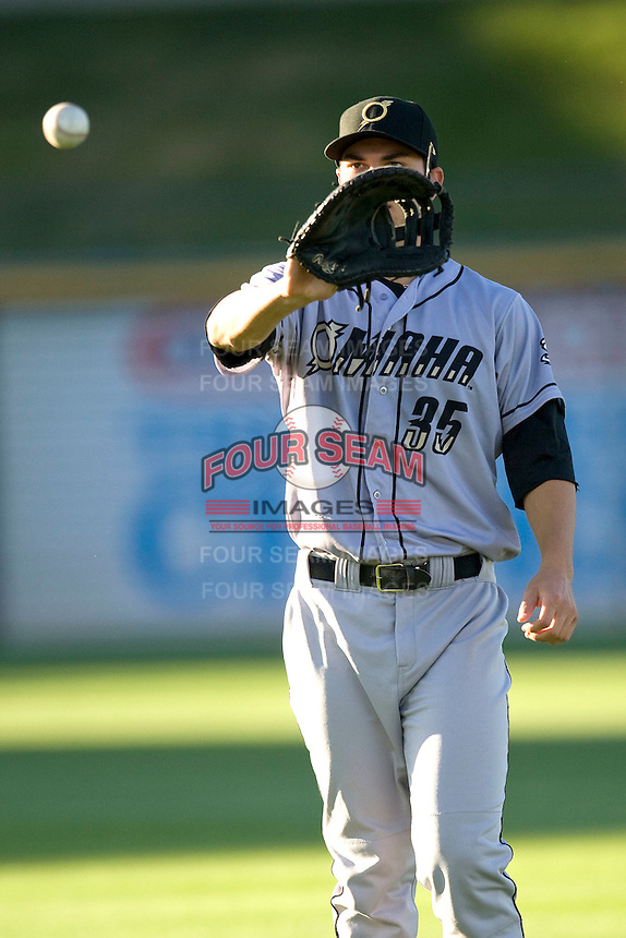 Omaha Storm Chaser first baseman Eric Hosmer warms up before the game against the Round Rock Express in Pacific Coast League baseball on Monday April 11th, 2011 at Dell Diamond in Round Rock Texas.  (Photo by Andrew Woolley / Four Seam Images)