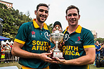 Corne Dry (l) and Sarel Erwee of South Africa celebrate winning Hong Kong Cricket World Sixes 2017 Cup final match between Pakistan vs South Africa at Kowloon Cricket Club on 29 October 2017, in Hong Kong, China. Photo by Vivek Prakash / Power Sport Images