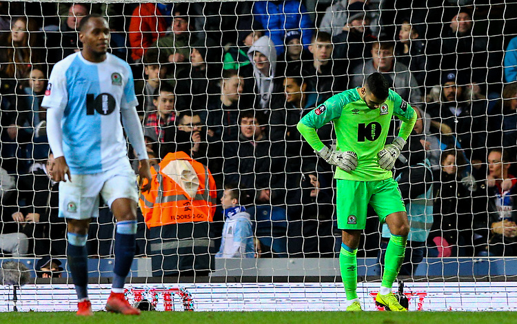 Blackburn Rovers' David Raya reacts to going 3-2 down<br /> <br /> Photographer Alex Dodd/CameraSport<br /> <br /> Emirates FA Cup Third Round Replay - Blackburn Rovers v Newcastle United - Tuesday 15th January 2019 - Ewood Park - Blackburn<br />  <br /> World Copyright &copy; 2019 CameraSport. All rights reserved. 43 Linden Ave. Countesthorpe. Leicester. England. LE8 5PG - Tel: +44 (0) 116 277 4147 - admin@camerasport.com - www.camerasport.com