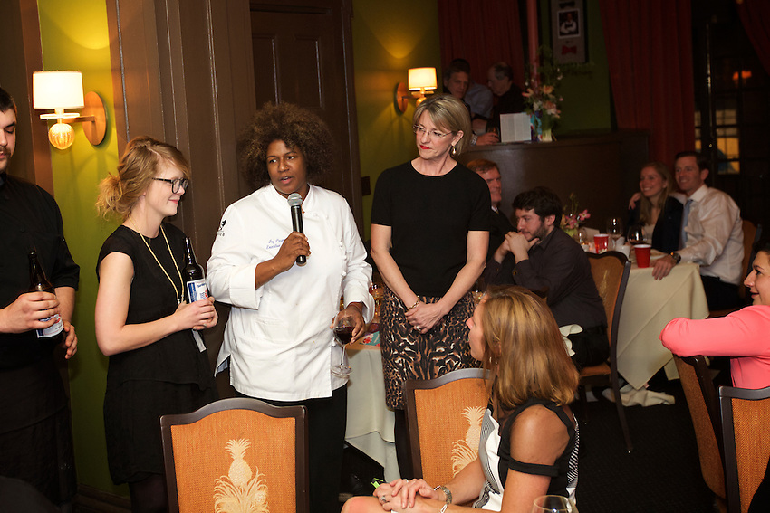 NEW YORK, NY - April 14, 2016: Joy Crump and her team from FOOD? and Mercantile present dinner at the James Beard House.<br /> <br /> CREDIT: Clay Williams for the James Beard Foundation.<br /> <br /> &copy; Clay Williams / claywilliamsphoto.com