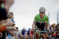Lars Boom (NLD/Belkin) in the bunch on the Oude Kwaremont<br /> <br /> Ronde van Vlaanderen 2014