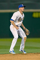Rancho Cucamonga Quakes shortstop Gavin Lux (14) on defense against the Inland Empire 66ers at LoanMart Field on April 12, 2018 in Rancho Cucamonga, California. The 66ers defeated the Quakes 5-4.  (Donn Parris/Four Seam Images)