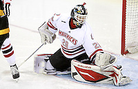 Nebraska-Omaha goalie Dayn Belfour. Nebraska-Omaha defeated Colorado College 7-5 Friday night at CenturyLink Center in Omaha. (Photo by Michelle Bishop) .