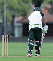 Jesse Ryder of Wairarapa is bowled for a golden duck against Nelson at Nelson Park, Napier, New Zealand on Friday, 30 October 2015. Photo: Kerry Marshall / lintottphoto.co.nz