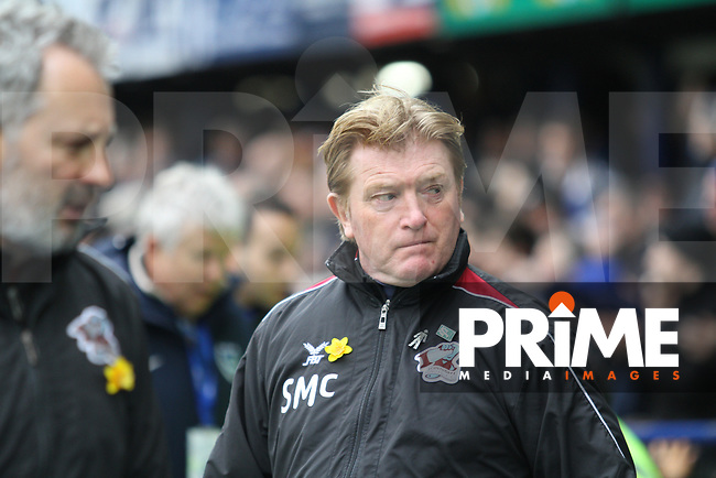 Stuart McCall (Manager of Scunthorpe United) during the Sky Bet League 1 match between Portsmouth and Scunthorpe United at Fratton Park, Portsmouth, England on 16 March 2019. Photo by James  Gill / PRiME Media Images.