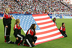 12 June 2006: The U.S. flag is displayed during the pregame national anthem in Veltins Arena. The Czech Republic defeated the United States 3-0 at Veltins Arena in Gelsenkirchen, Germany in match 10, a Group E first round game, of the 2006 FIFA World Cup.