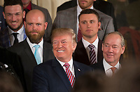United States President Donald J. Trump welcomes Baseball's 2017 World Series Campions, the Houston Astros to The White House in Washington, DC, March 12, 2018. <br /> CAP/MPI/CNP/CK<br /> &copy;CK/CNP/MPI/Capital Pictures