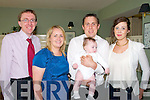 Baby Mikey Bambury with his parents and godparents who was christened in Ballylongford church by Fr. Philip O'Connor on Saturday last and afterwards at the Listowel Arms Hotel.  L-R: Liam Galvin, Sinead & Brendan Galvin & Maeve Bambury.