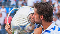 Feliciano Lopez (ESP) kisses the 2017 Aegon Championship Trophy, Aegon Tennis Championships Final, Queen's Tennis Club, London, England, 25th June 2017.