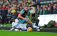 Swansea City's Nathan Dyer vies for possession with Burnley's Charlie Taylor<br /> <br /> Photographer Ashley Crowden/CameraSport<br /> <br /> The Premier League - Swansea City v Burnley - Saturday 10th February 2018 - Liberty Stadium - Swansea<br /> <br /> World Copyright &copy; 2018 CameraSport. All rights reserved. 43 Linden Ave. Countesthorpe. Leicester. England. LE8 5PG - Tel: +44 (0) 116 277 4147 - admin@camerasport.com - www.camerasport.com