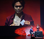 """Richard Ridge and Shin Lim from the cast of Broadway's """"The Illusionists—Magic of the Holidays"""" on stage for a press preview at the Marquis Theatre  on November 27, 2018 in New York City."""