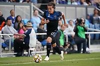 SAN JOSE, CA - SEPTEMBER 29: Carlos Fierro #21 of the San Jose Earthquakes during a Major League Soccer (MLS) match between the San Jose Earthquakes and the Seattle Sounders on September 29, 2019 at Avaya Stadium in San Jose, California.