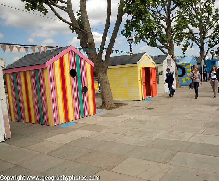 Beach Huts on the South Bank to celebrate the traditional seaside holiday, London - June 2011