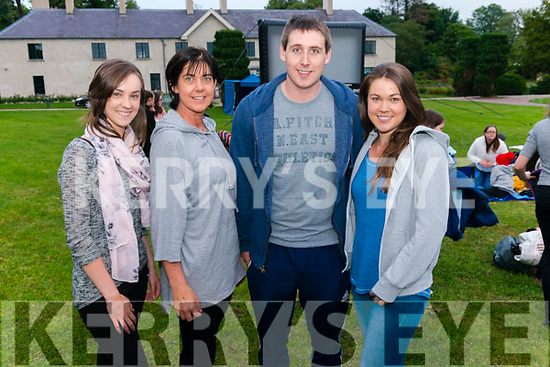 Open Air Cinema at the Killarney Gardens last Tuesday evening. Pictured are l-r Amber Galwey, Liz Galwey, Paudie Fleming and Tara Galwey all from Castleisland.